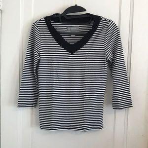 LIZ CLAIBORNE Black & White Striped  V-Neck Shirt